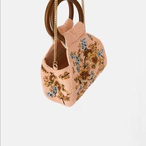 Zara beaded pink tan wooded handle crossbody bag